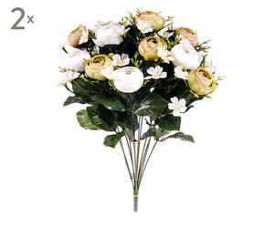 Set di 2 bouquet decorativi con ranuncoli crema - d 30 cm
