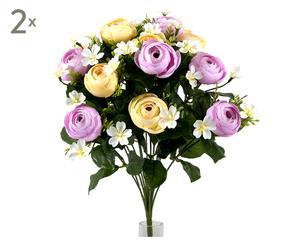 Set di 2 bouquet decorativi con ranuncoli lilla - d 30 cm