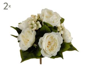 Set di 2 bouquet decorativi Peonia crema - d 26 cm