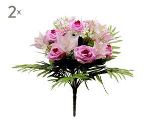 Set di 2 bouquet decorativi con rose lilla - d 40 cm