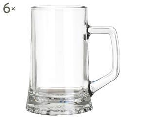 Set di 6 boccali da birra in vetro Stern - 400 ml