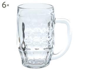 Set di 6 boccali da birra in vetro Malles - 500 ml