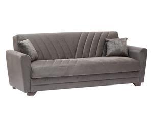 Divano letto trasformabile in microfibra grigio Gabbiano - 1 piazza e mezzo