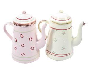 Set di 2 caffettiere in stoneware Easter - rosa/avorio