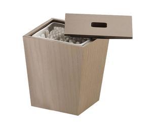 Porta cotton fioc in legno e ceramica Kyoto rovere - h 10 cm