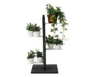 Portavasi a colonna in faggio Zia Flora nero - 30x66x30 cm