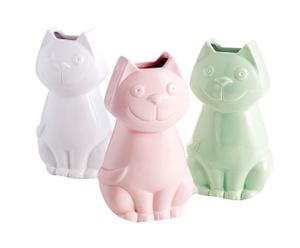 Set di 3 umidificatori in ceramica Cat assortiti - 11x5x20 cm