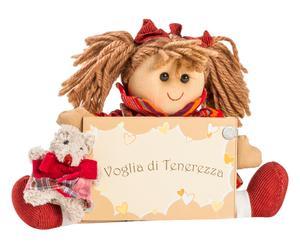 Portafoto con bambola Arianna in legno e cotone - 18x18 cm