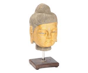 Scultura in pietra con piedistallo Testa Buddha - 15x30x15 cm