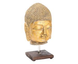Scultura in pietra con piedistallo Testa di Buddha - 15x30x15 cm
