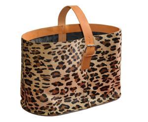 Portabiancheria in pelle bovina Leopard Bag - 42x30x18 cm