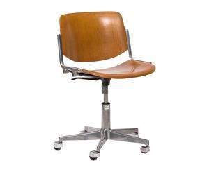 Sedia ufficio anni \'70 in alluminio e legno, by G. Piretti p.unico - 45x70x45 cm