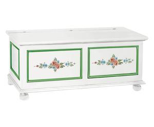 Cassapanca in legno bianco con decori - 100x51x44 cm