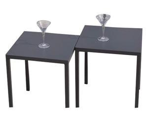 Set 2 Tavolini/Sgabelli in acciaio antracite - 37x43x37 cm