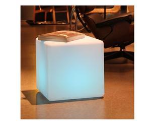 Pouf luminoso in polietilene bianco - 43x43x44 cm