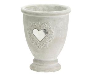 Vaso con cuore in cemento - 17x14 cm