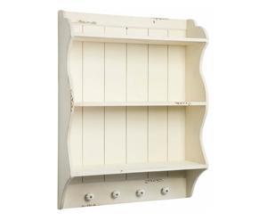 Piattaia a 2 scomparti e 4 ganci in legno di abete bianco - 60x80x18 cm