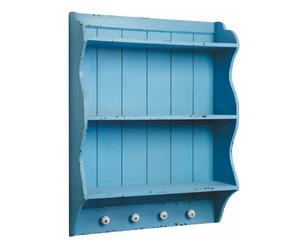 Piattaia a 2 scomparti e 4 ganci in legno di abete blu - 60x80x18 cm