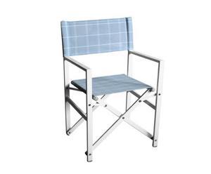 Sedia regista da esterno in alluminio e tessuto Positano bianca - h 88 cm