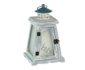 Lanterna in legno Faro bianco e blu  16x27x16 cm