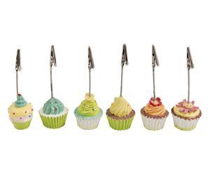 Set di 6 segnaposto in resina Cupcake assortiti - 4x12x3 cm