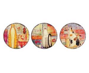 Set di 3 sottopentola in ceramica e sughero Gatto