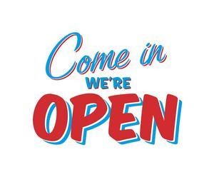 Adesivo in vinile Come in we\'re open azzurro e rosso - 55x41 cm