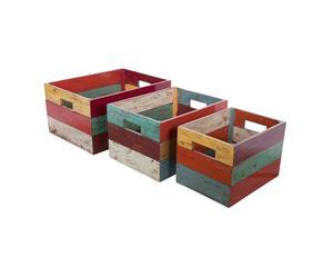 Set di 3 scatole in legno Industrial