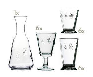 Servizio di bicchieri e caraffa per acqua e vino in vetro Bistrot - 18 pezzi