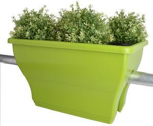 Vaso da balcone in plastica Flowerclip verde - 50x30x28 cm