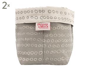 Set di 2 coprivaso in cotone Abacus Fog bianco/grigio - 16x22x14 cm