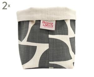 Set di 2 coprivaso in cotone Bowls Graphite grigio/bianco - 16x22x14 cm