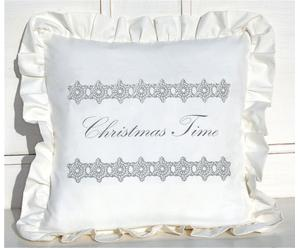 Federa in cotone Christmas Time bianco - 40x40 cm