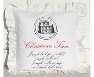 Federa in cotone Christmas Time bianco - 45x45 cm