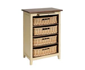 cassettiera con 4 cestini in legno di pino e MDF Luna crema - 60x37x86 cm