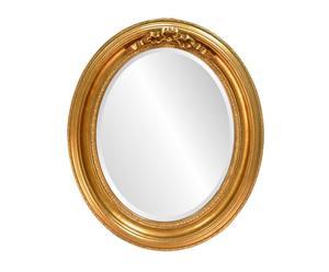 Specchio ovale in acacia e vetro riflettente Illusion oro antico - 64X54 cm