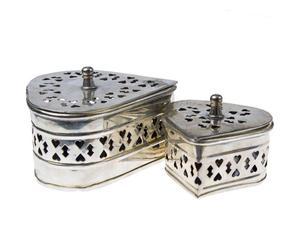 Set di 2 scatole a cuore in metallo POTPOURRI KOMPLET