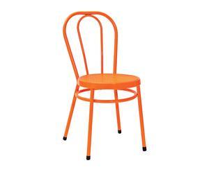 sedia thonet in metallo e plastica arancione - 85x40x43 cm