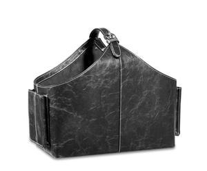 Portariviste in ecopelle nera Viviana - 55x20x38 cm