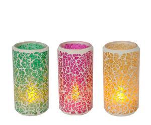 Set di 3 candele a led in plastica Joy - h 10 cm
