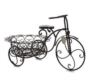 Fiorera in metallo Triciclo con sedile nera - 55x30x33 cm