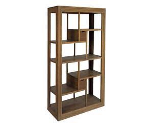 Libreria a 8 scomparti e 2 cassetti in acacia Liberty - 120x180x40 cm