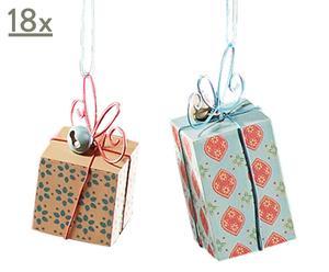 Set van 18x 2 houten cadeautjes-hangers