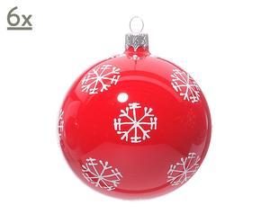 set van 6 Kerstballen sneeuwvlok, groot