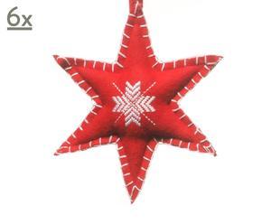 Kerstster, vilt, rood, set van 6