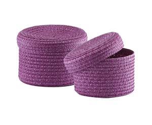 Set van 2 ronde manden met deksel, lila