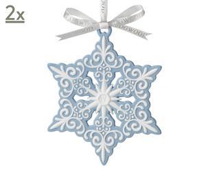 Set van 2 kerstdecoraties Blue and White Snowflake