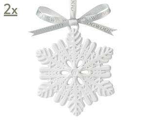 Set van 2 kerstdecoraties White Snowflake