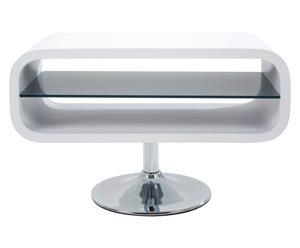 Draaibare tv-tafel Scoop, glanzend wit
