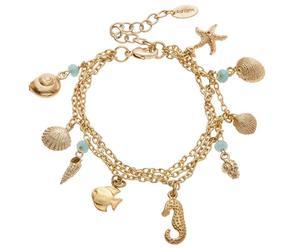 Vergulde armband Ariel met chalcedonen, aqua